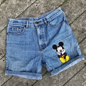 Disney Jean Denim Mickey Mouse Long Shorts VTG